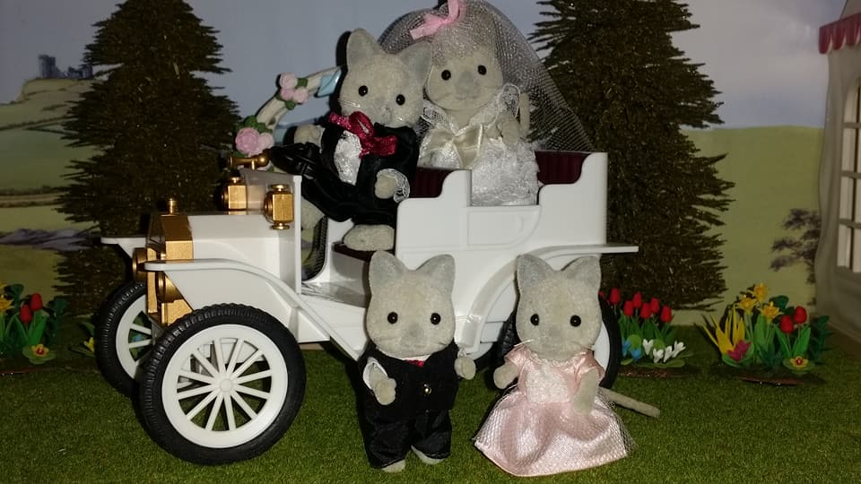 Sylvanian Families UK Solitaire Siamese Cat Family Wedding Bride Groom EPOCH Tomy Flair Church Flowers Urban Life Wedding Car Bridesmaid Page Boy