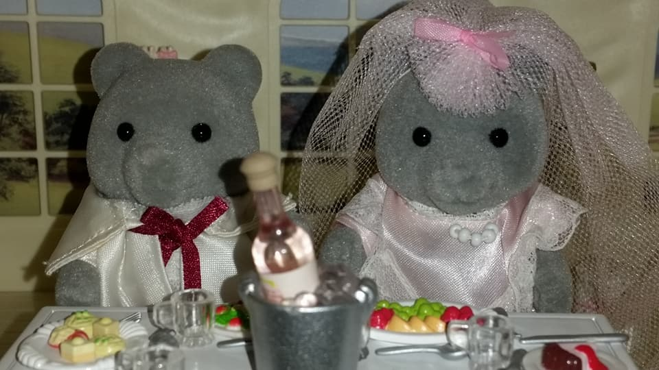 Sylvanian Families UK Wedding Sweetwater Bear Bride Groom EPOCH Tomy Flair Evergreen Grey Bear Family Church Flowers Champagne