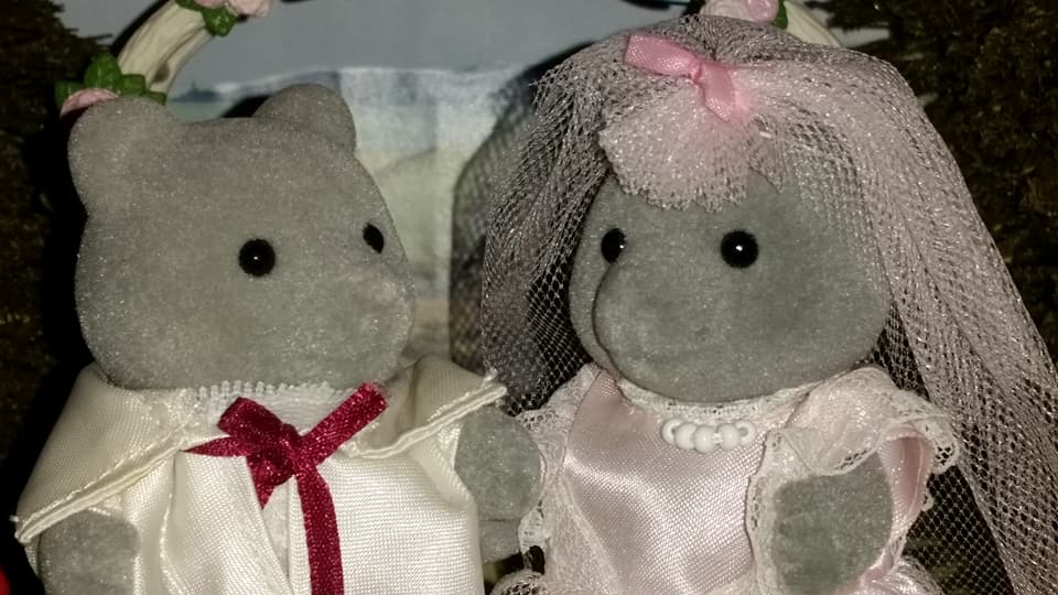 Sylvanian Families UK Wedding Sweetwater Bear Bride Groom EPOCH Tomy Flair Evergreen Grey Bear Family Church Flowers Peter Pippa Bridesmaid Page boy Urban Life White Wedding Car