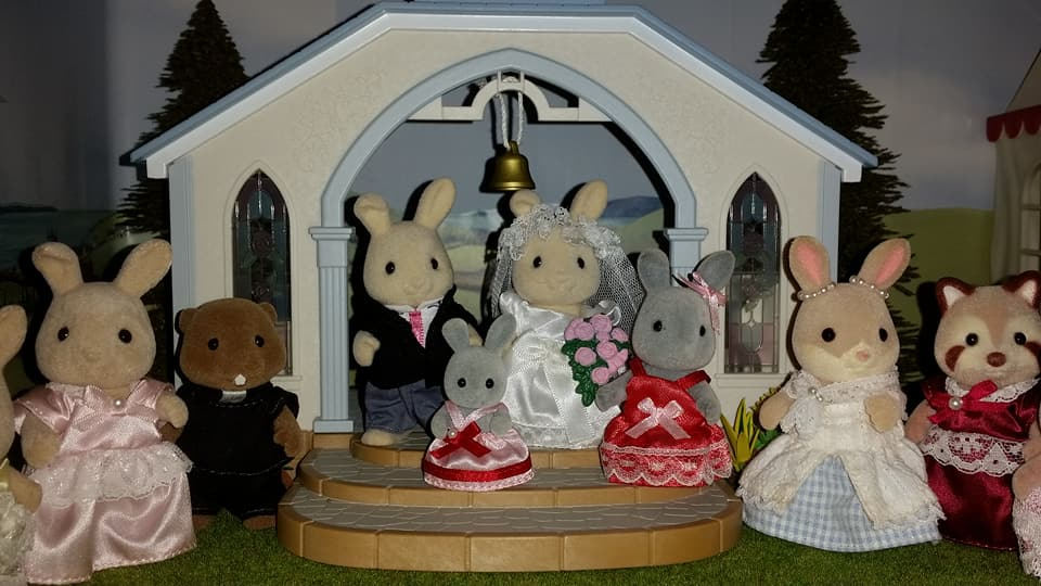Sylvanian Families UK Butterglove Rabbit Wedding Family Ivory Rabbit Family Church Flowers EPOCH Tomy Flair Brighteyes Rabbit Bridesmaids Sparkle Rabbit Reverend Kelvin Waters Beaver Family Mulberry Racoon Mother