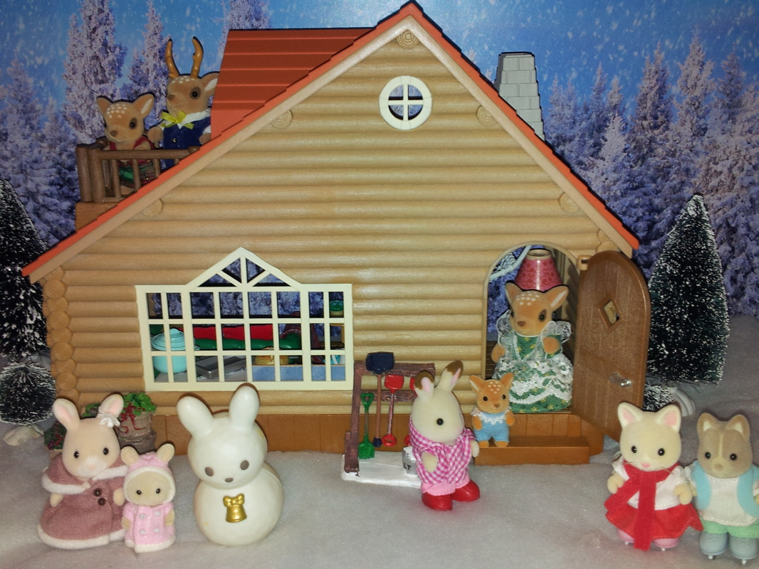 Sylvanian Families UK Log Cabin Moss Reindeer Family Freya Chocolate Wildflower rabbit