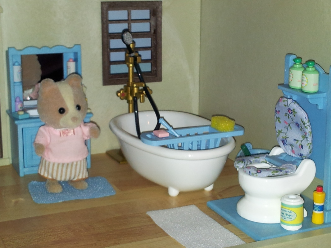 Sylvanian Families UK Urban Life Country Manor Farthing Dog Blue Bathroom Flair JP