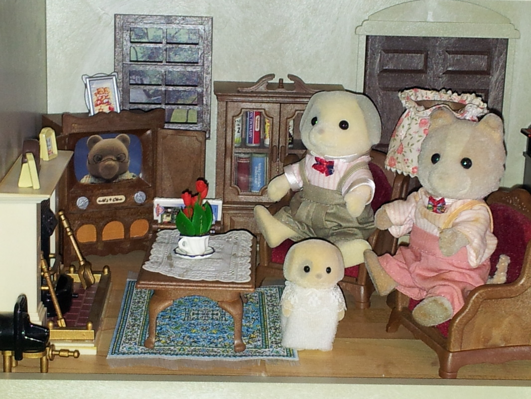 Sylvanian Families UK Urban Life Country Manor Patches Farthing Dog Ivory Maroon Living Room JP