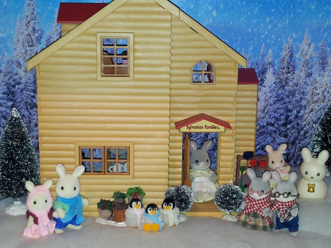 Sylvanian Families UK Red Roofed House Cottontail Rabbit Show Warren White Rabbit Winter Penguins Snow